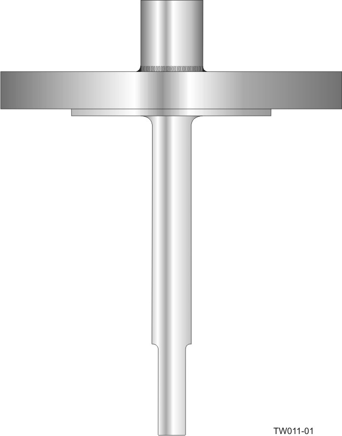 Flanged barstock thermowell - straight form and step-down shank