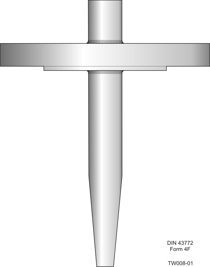 Flanged barstock thermowell according to DIN 43772 form 4F