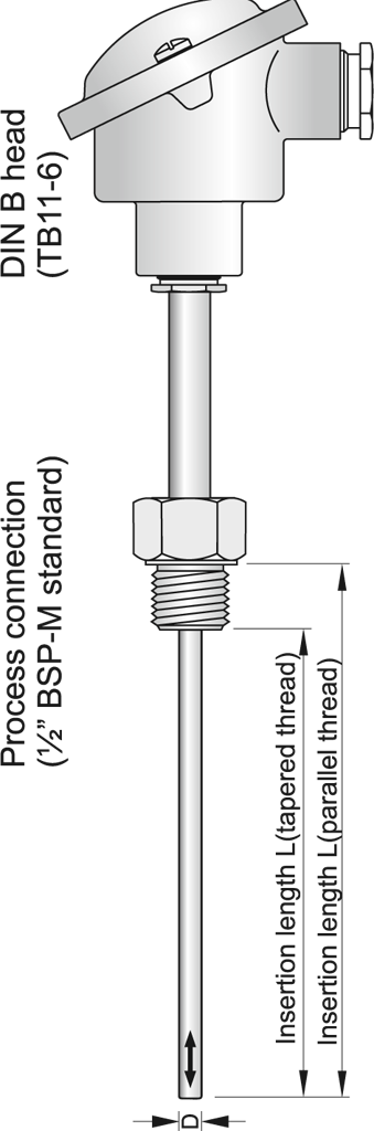 Sheathed thermocouple with connection head and extension tube