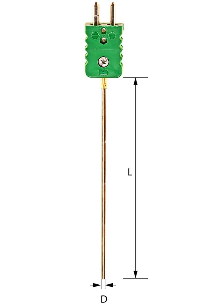 Sheathed thermocouple with standard connector