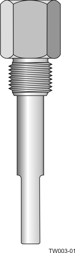 Screw-in barstock thermowell - straight form and step-down shank